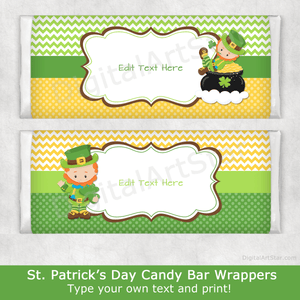 St. Patrick's Day Leprechaun Chocolate Bar Wrappers