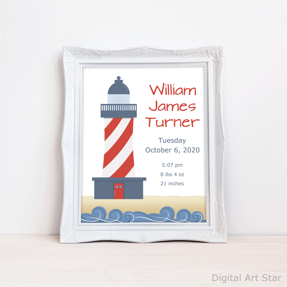 Lighthouse Nautical Birth Announcement Sign Printable
