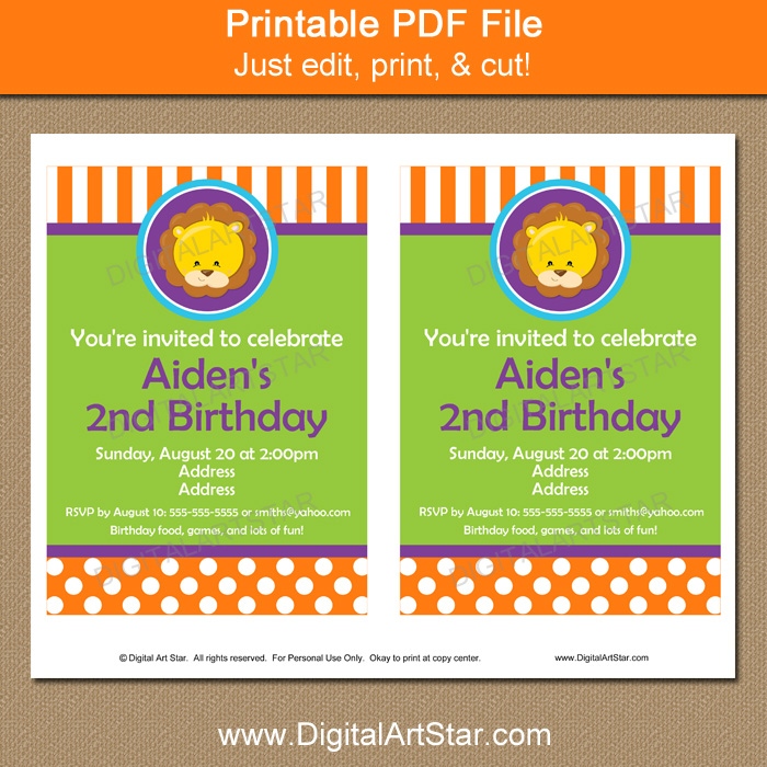 Printable Lion Party Invitation Template