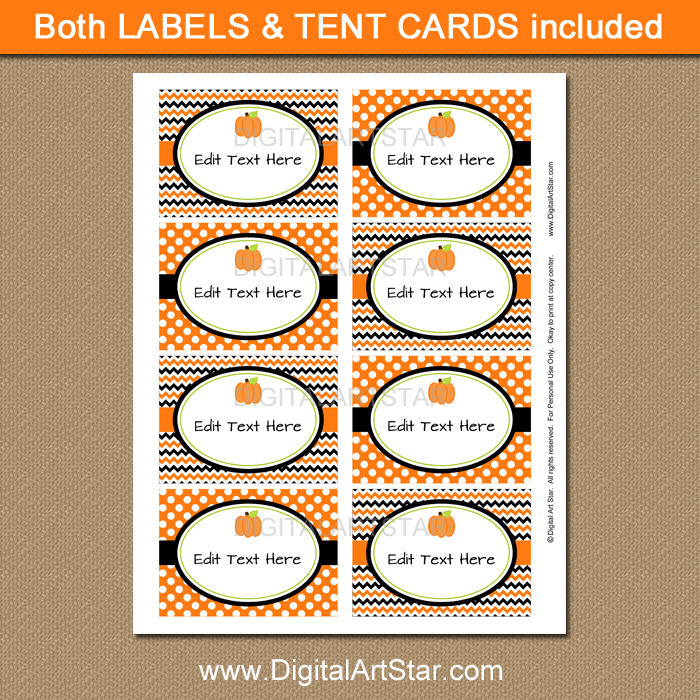 Little Pumpkin Baby Shower Labels