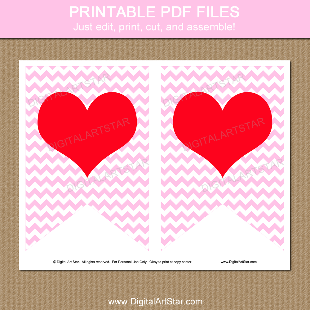 Valentines Day Heart Banner Printable