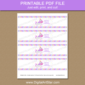 Magical Unicorn 1st Birthday Party Printable Water Bottle Labels