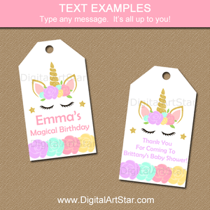 Unicorn Thank You Tags for Unicorn Birthday Party or Unicorn Baby Shower