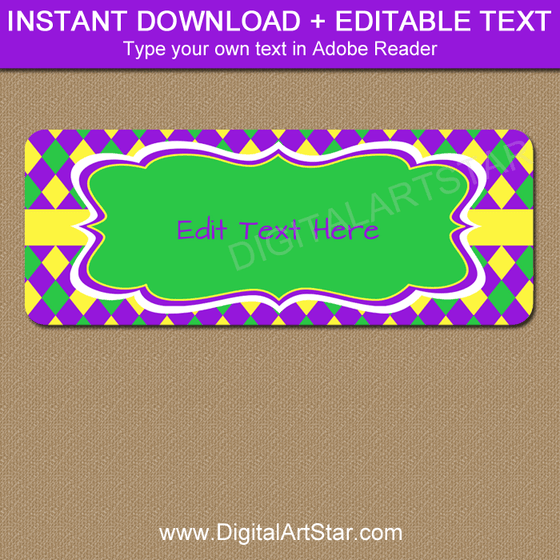 Printable Address Labels for Mardi Gras
