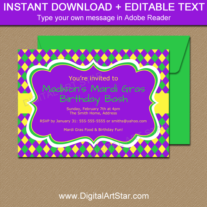 Purple Mardi Gras Invitations - Editable PDF