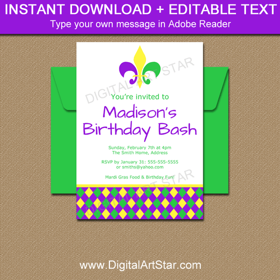 Mardi Gras Birthday Invitations - Editable Template