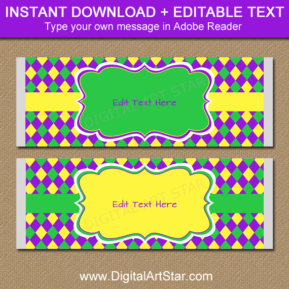 Mardi Gras Candy Bar Wrappers Editable Template