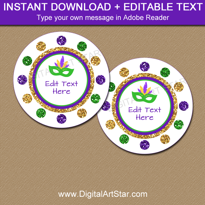 Mardi Gras Favor Tags Instant Download
