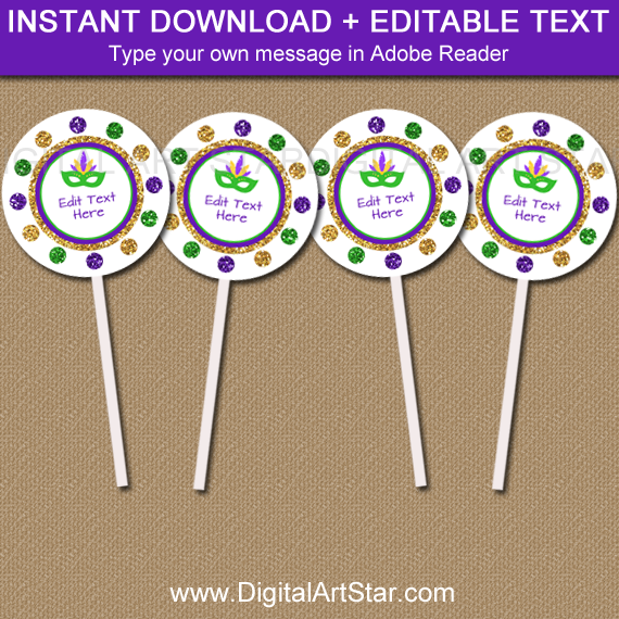 Mardi Gras Cupcake Toppers with Editable Text
