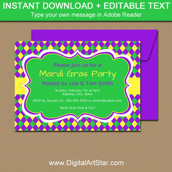 Mardi Gras Invitation Editable Template