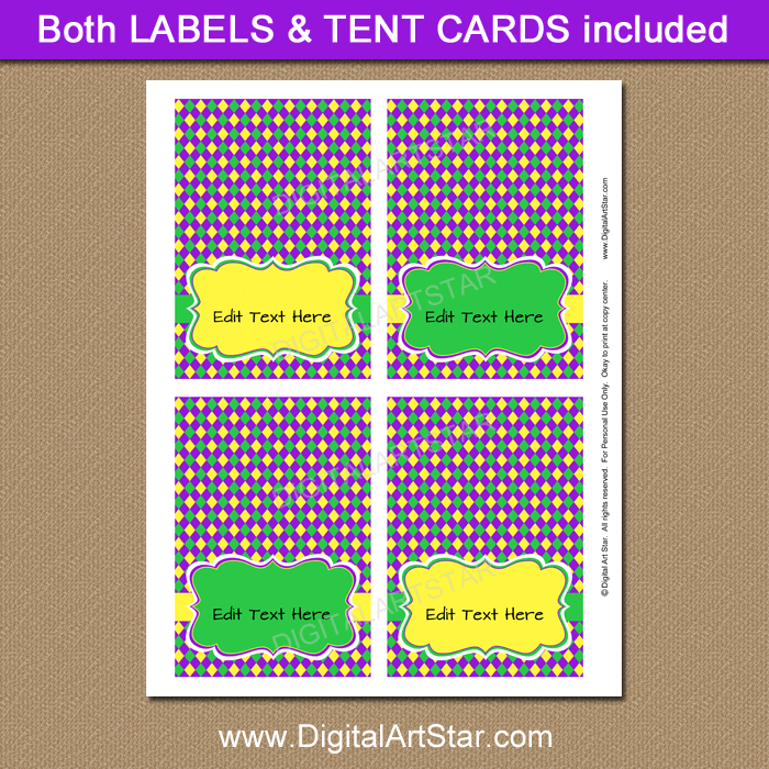 Printable Labels and Tent Cards for Mardi Gras Party