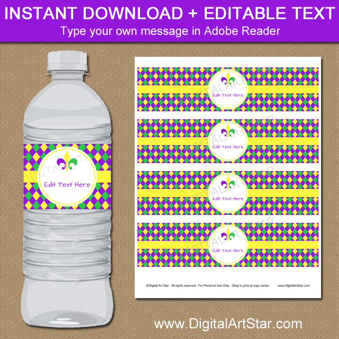 Editable Mardi Gras Water Bottle Labels Template