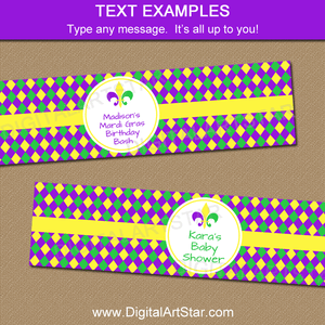 Water Bottle Wraps for Mardi Gras Birthday, Mardi Gras Baby Shower, More