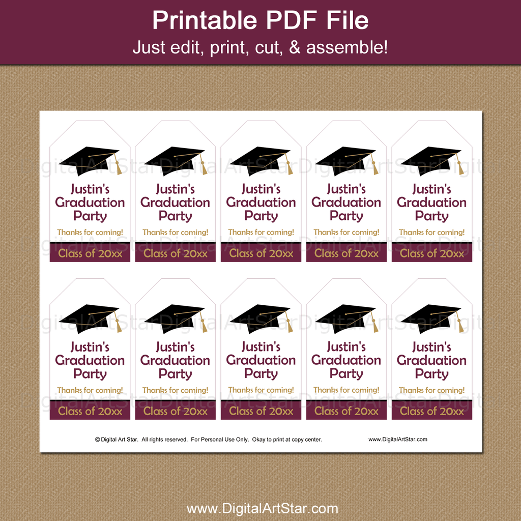 Maroon and White Graduation Gift Tags Printable