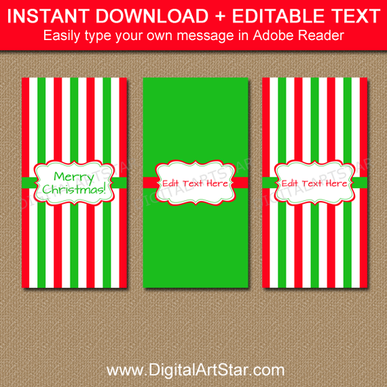 Christmas Mini Candy Bar Wrappers with Editable Text