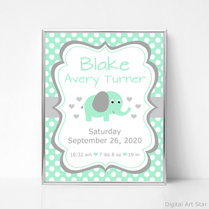 Mint Green and Gray Elephant Birth Stats Sign Printable