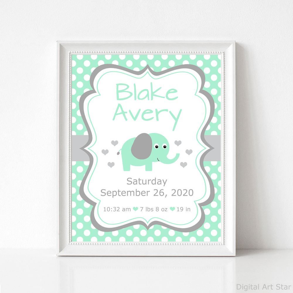Mint Green and Gray Elephant Nursery Wall Decor
