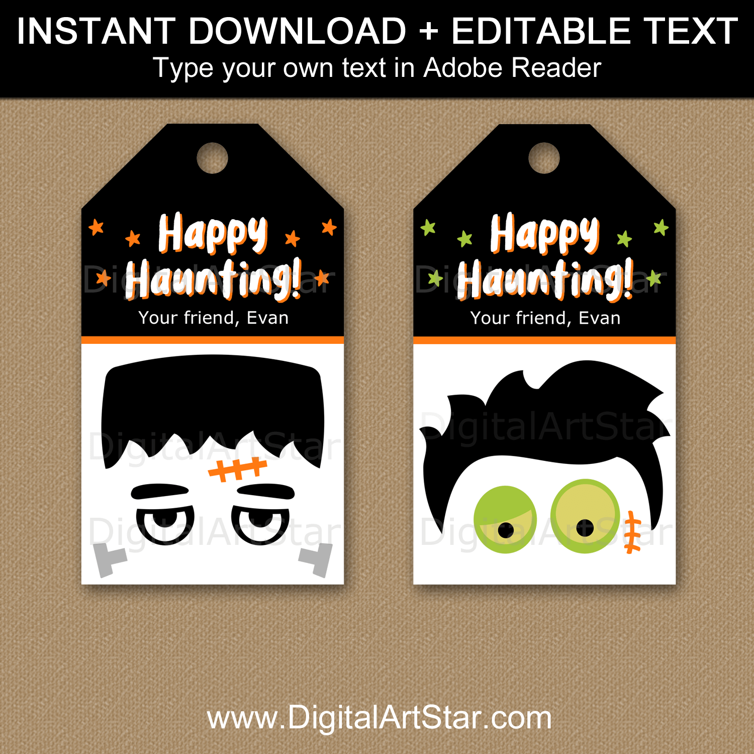 Monster and Zombie Halloween Printable Tags for Goodie Bags