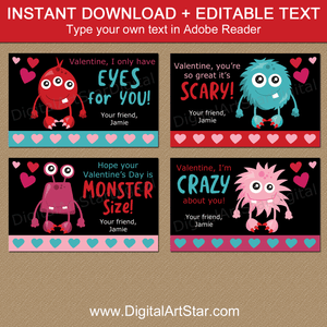 Black Valentine Monster Cards for School Valentine Party