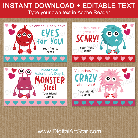 Instant Download Monsters Valentines Day Cards for Kids