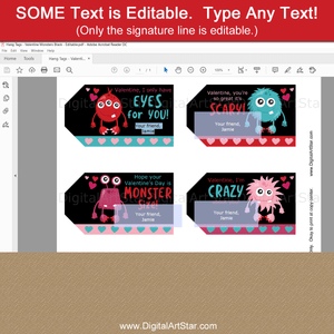 Editable Monster Valentine Gift Tags for Kids