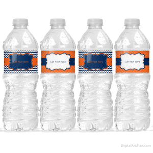 Navy Blue Orange Editable Water Bottle Labels