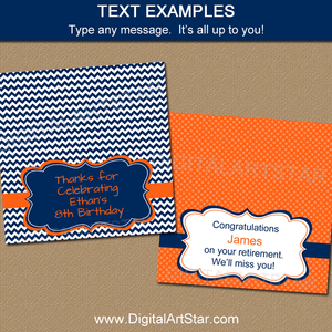 Navy Orange Birthday Bag Toppers Printable