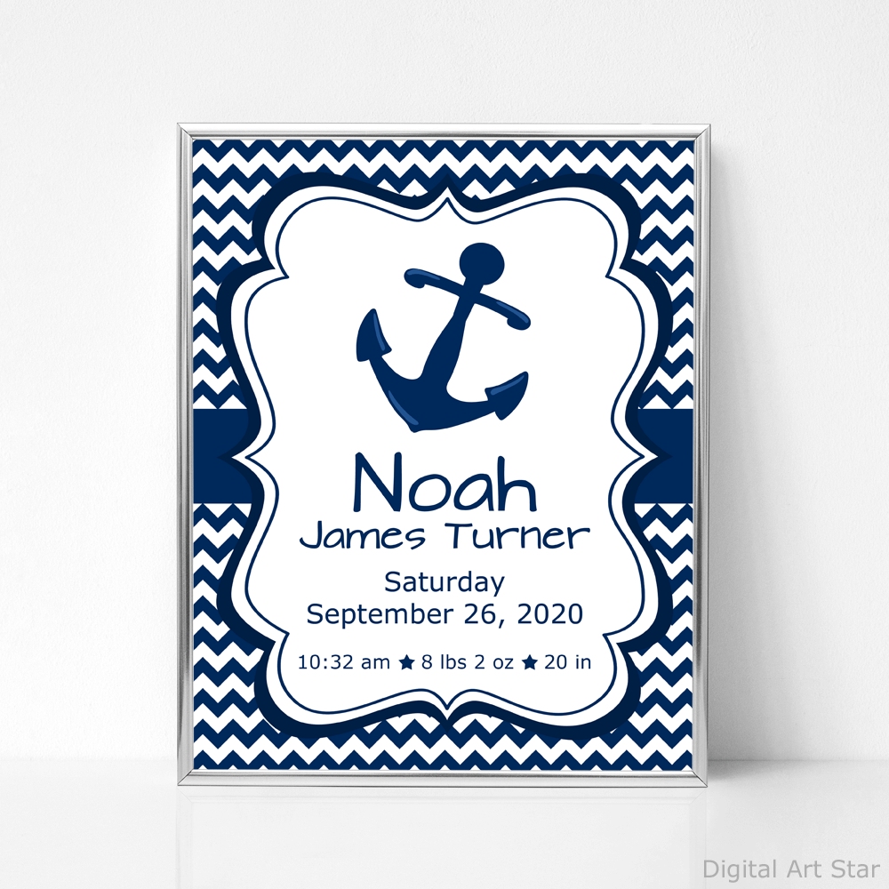 Navy and White Nautical Baby Birth Stats Sign with Anchor