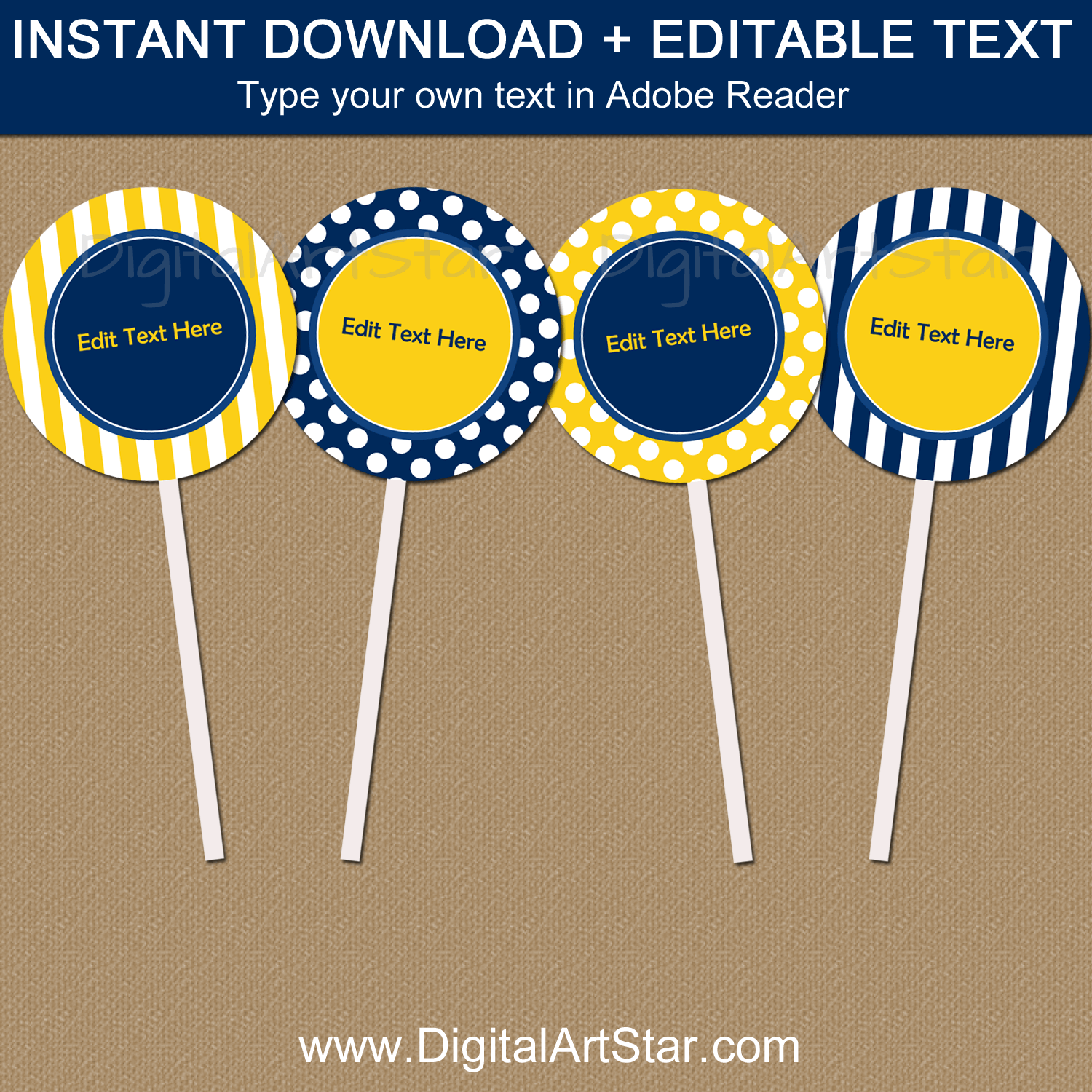 Navy and Yellow Cupcake Toppers Instant Download