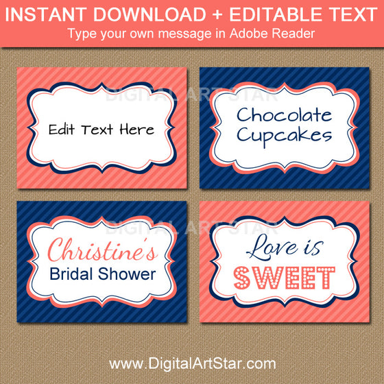 coral and navy candy buffet labels