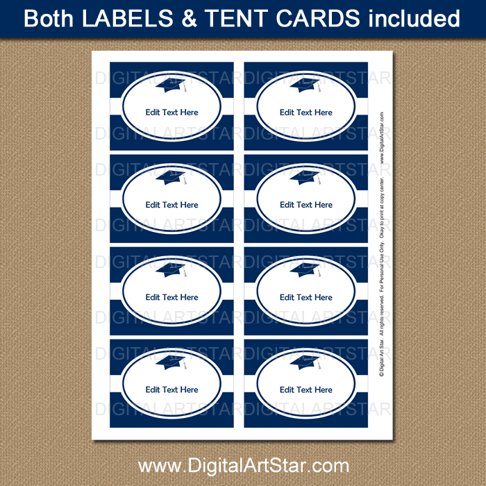 Navy and White Graduation Party Labels