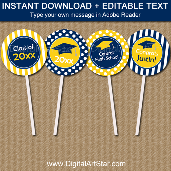 Navy and Yellow Graduation Cupcake Picks