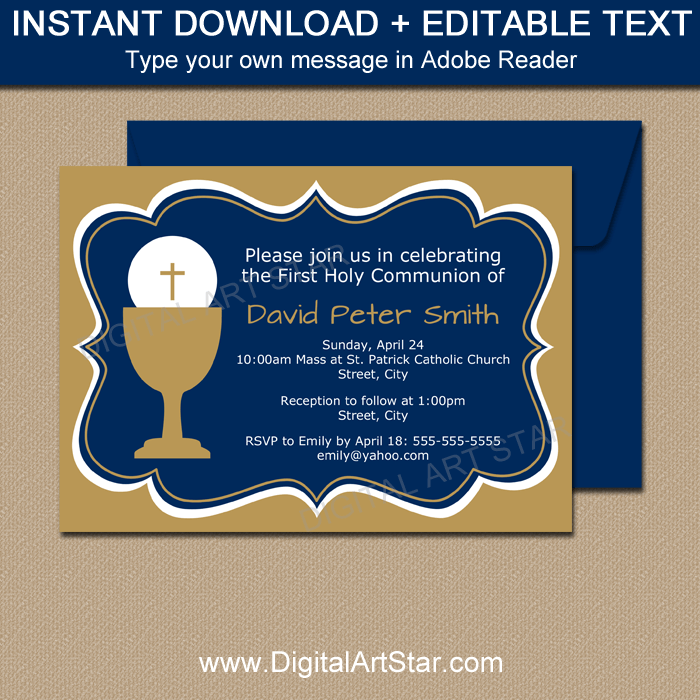Navy Blue and Gold First Communion Invitation Template