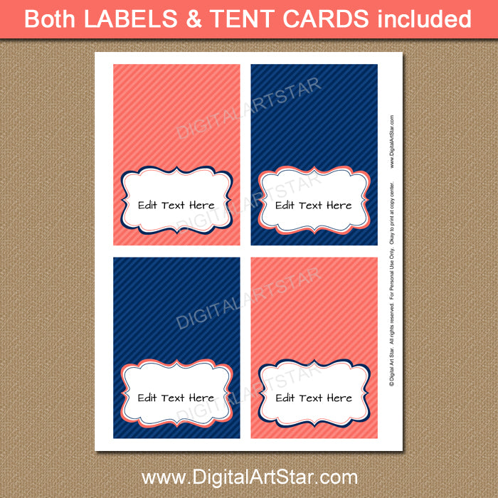 printable navy and coral tent cards