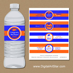 Orange and Royal Blue Personalized Graduation Water Bottle Labels