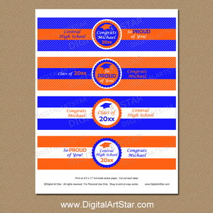 Orange Royal Blue Printable Graduation Water Bottle Stickers