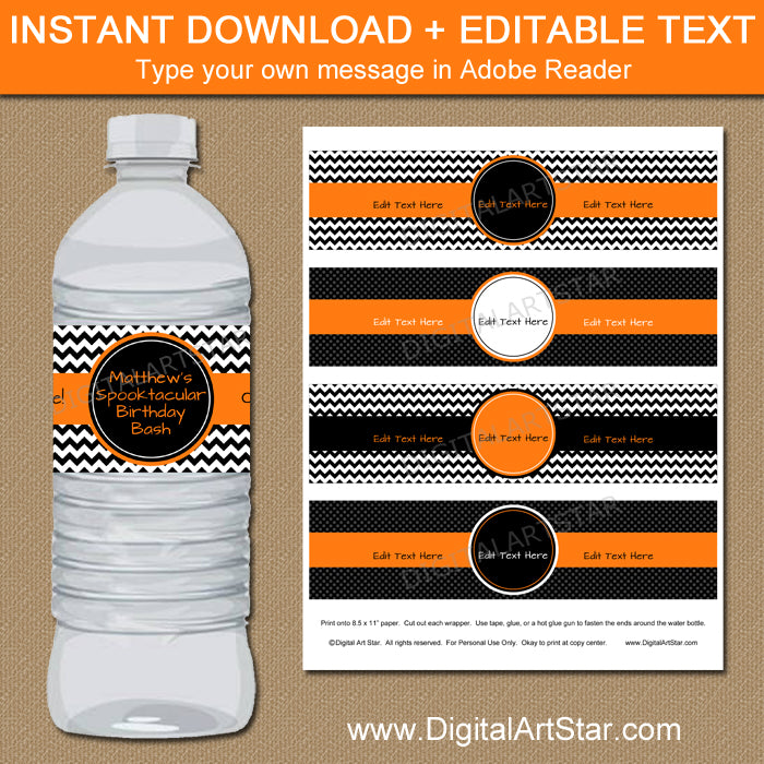 Orange Black Halloween Party Water Bottle Labels Digital Art Star - Mini water bottle label template