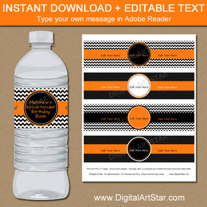 instant download halloween water bottle labels in orange and black - type your own message in Adobe Reader