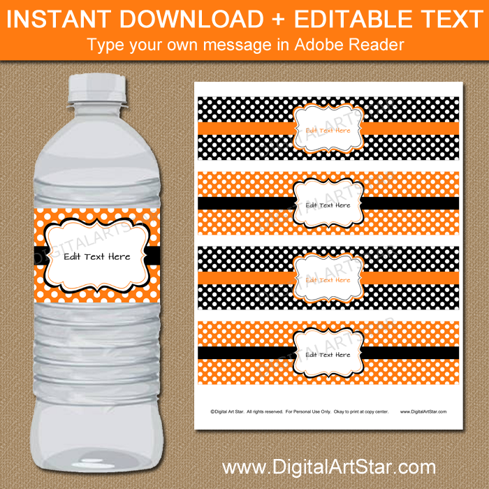 Instant Download Orange and Black Drink Labels