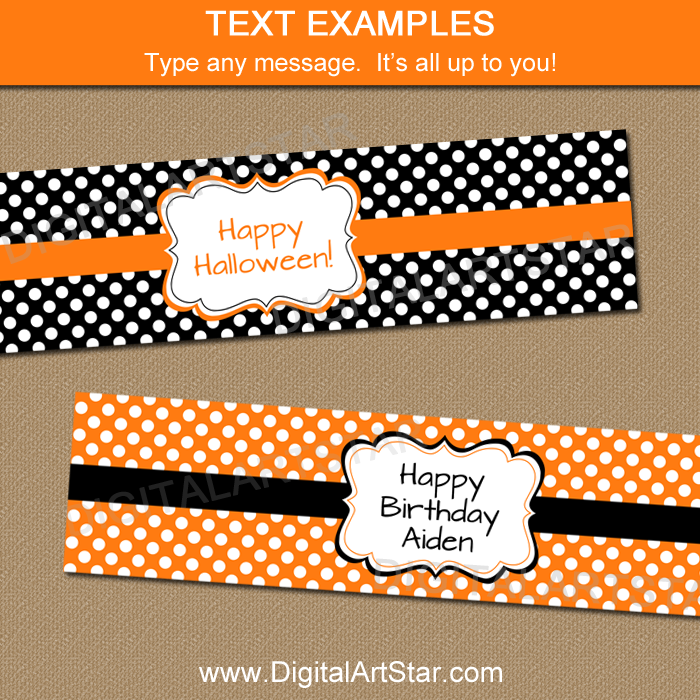 Orange and Black Polka Dot Water Bottle Labels