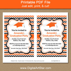 Printable Orange and Black Graduation Party Invitation Template