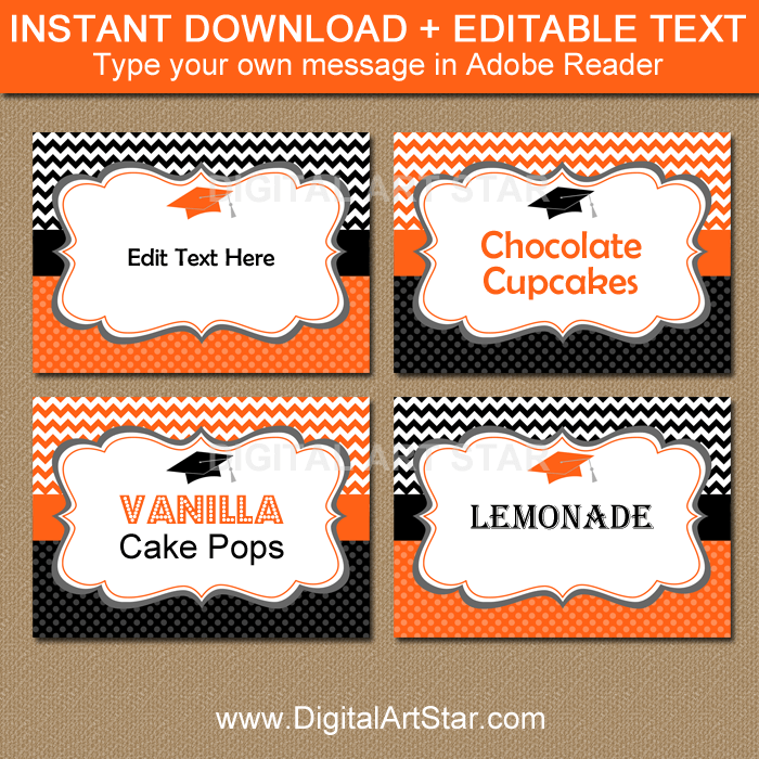 Orange and Black Graduation Candy Buffet Label Template