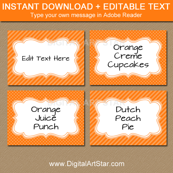 orange food labels with editable text