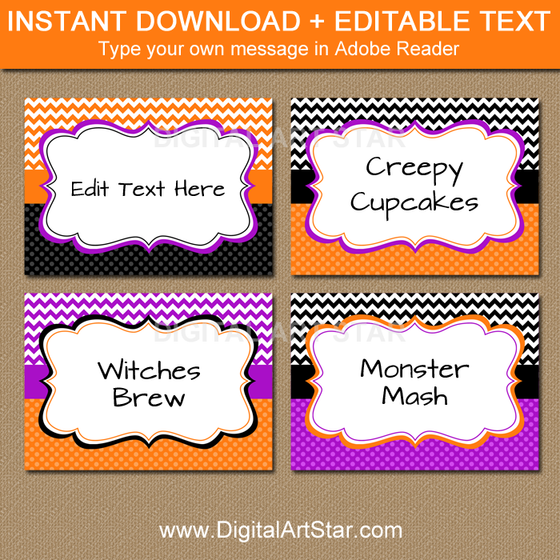 candy buffet labels - orange, black, purple