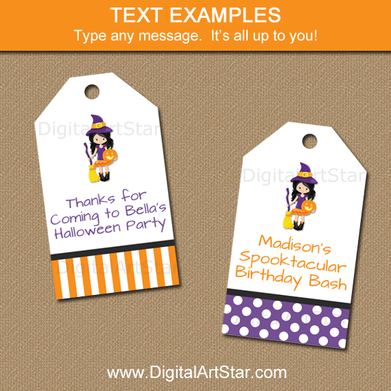 Witch Hang Tags for Girl Halloween Party