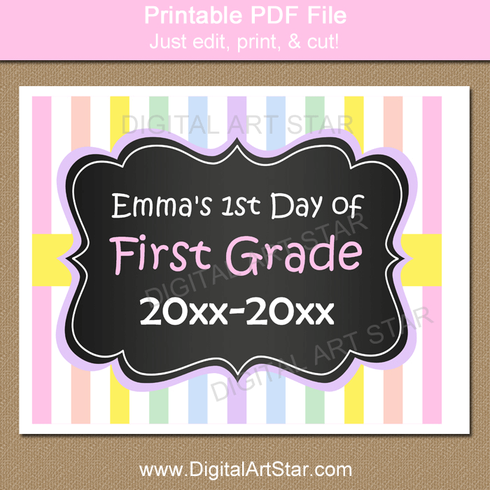 image about First Day of 1st Grade Printable titled Pastel To start with Working day of College Signal Printable PDF