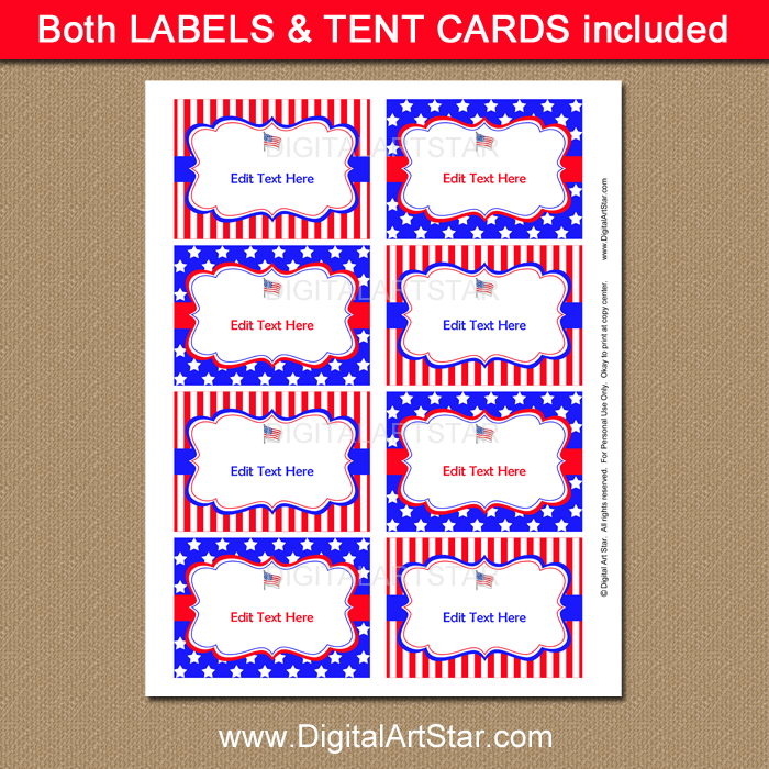 Printable Patriotic Labels and Buffet Cards