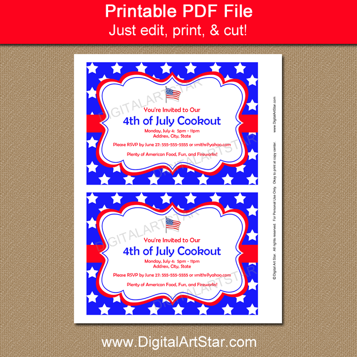 July 4th Party Invitations Printable · Patriotic Party Invitation Template with Editable Text ...