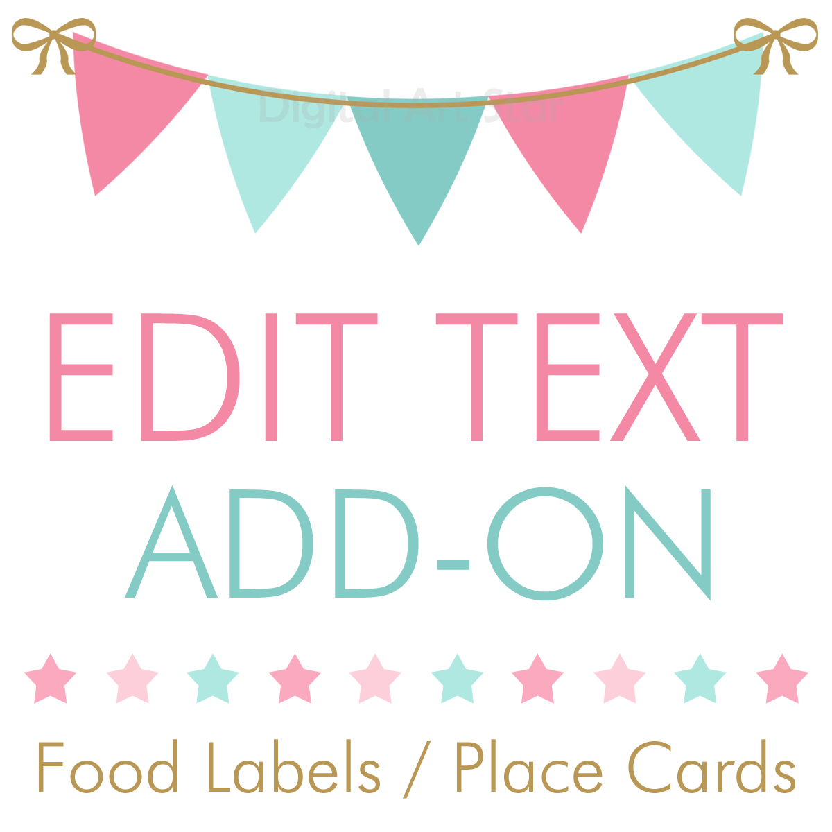 Personalize Food Labels Edit Text on Place Cards and Candy Buffet Labels