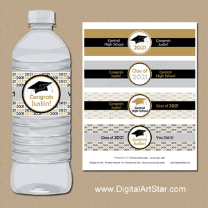 Personalized 2021 Graduation Decor Printable Water Bottle Labels Gold Silver Black White